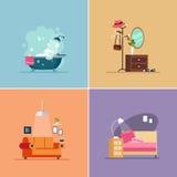 Tipi della stanza di interior design Insieme dell'illustrazione di vettore Fotografia Stock