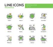 Tipi di assicurazioni - linea icone di progettazione messe illustrazione vettoriale