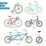 Tipi di biciclette Fotografia Stock
