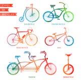 Tipi di biciclette dell'acquerello Fotografie Stock