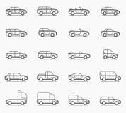 Tipi di carrozzeria icone Fotografia Stock