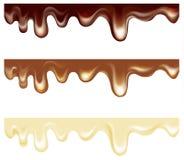 Tipi di cioccolato scorrenti Bianco, latte, buio Insieme dei bordi senza giunte illustrazione di stock
