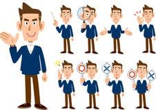9 tipi di corpi interi maschii del _stabilito di posa e di espressione illustrazione di stock
