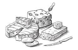 Tipi di fabbricazione del formaggio vari di insiemi del formaggio degli schizzi di vettore Fotografie Stock