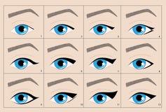 Tipi di frecce permanenti dell'eye-liner di trucco Immagine Stock Libera da Diritti