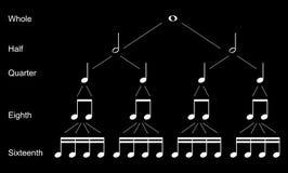 Tipi di note musicali Immagine Stock Libera da Diritti