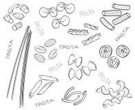 Tipi di paste - illustrazione disegnata a mano Fotografie Stock