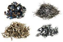 Tipi di rasature del metallo dopo il taglio fotografie stock