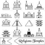 Tipi di religioni del mondo di icone del profilo delle tempie Fotografie Stock Libere da Diritti