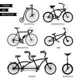 Tipi di siluette delle biciclette Immagine Stock