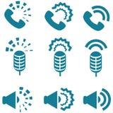 Tipi di suoni dall'insieme dell'icona dei dispositivi Fotografia Stock Libera da Diritti