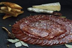 Tipi differenti assortiti di salsiccie del formaggio su un fondo scuro fotografia stock