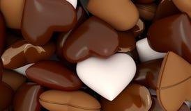 Tipi differenti dei cuori del cioccolato Immagini Stock