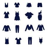 Tipi differenti di abbigliamenti delle donne come icone piane Royalty Illustrazione gratis