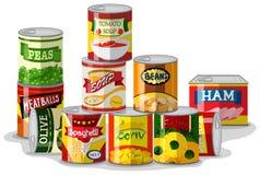 Tipi differenti di alimenti inscatolati royalty illustrazione gratis