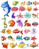 Tipi differenti di animali di mare Fotografia Stock Libera da Diritti