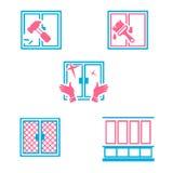 Tipi differenti di azioni con le finestre Illustrazione Vettoriale