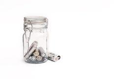 Tipi differenti di batterie utilizzate pronte per riciclare Fotografie Stock Libere da Diritti