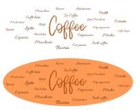 Tipi differenti di caffè - insegna illustrazione vettoriale