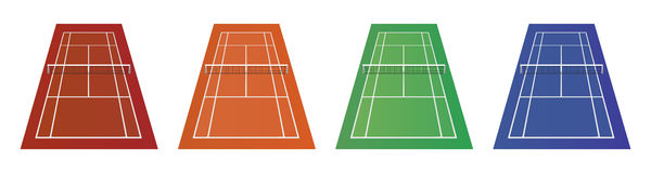 Tipi differenti di campi da tennis - argilla, erba ed altra Fotografia Stock Libera da Diritti