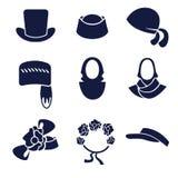 Tipi differenti di cappelli e di copricapi dei women's Royalty Illustrazione gratis