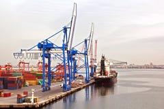 Tipi differenti di carico asciutto, di passeggero e di navi portacontainer nel moto ed attraccati al porto di Smirne, Turchia immagine stock libera da diritti