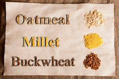 Tipi differenti di cereali Immagini Stock