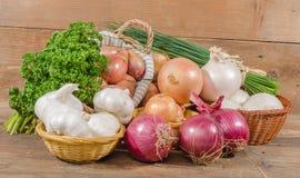 Tipi differenti di cipolle, di aglio e di scalogni immagine stock