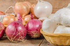 Tipi differenti di cipolle, di aglio e di scalogni Fotografia Stock