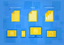 Tipi differenti di documenti con gli apparecchi elettronici su fondo blu illustrazione vettoriale