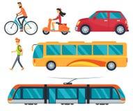 Tipi differenti di illustrazioni di vettore di trasporto Fotografia Stock