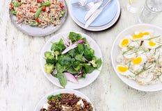 Tipi differenti di insalate per intrattenere di estate fotografie stock