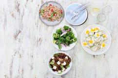 Tipi differenti di insalate per intrattenere di estate fotografia stock