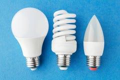 tipi differenti di lampade economizzarici d'energia su un fondo blu Fotografia Stock
