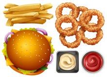 Tipi differenti di pasti rapidi su fondo bianco Fotografia Stock Libera da Diritti