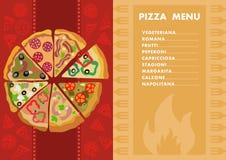 Tipi differenti di pizze menu Concetto della pizzeria royalty illustrazione gratis