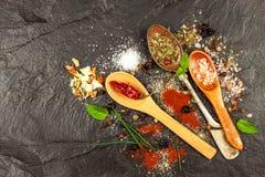 Tipi differenti di spezie sul piatto dell'ardesia Vendita delle spezie Preparazione di alimento piccante Venditore della spezia d Fotografia Stock Libera da Diritti