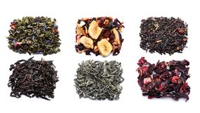 Tipi differenti di tè su fondo bianco fotografie stock libere da diritti