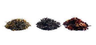 Tipi differenti di tè su fondo bianco fotografia stock
