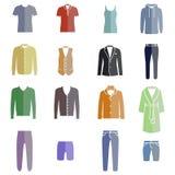 Tipi differenti di vestiti degli uomini come icone di colore Royalty Illustrazione gratis
