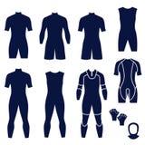 Tipi differenti di vestiti dei men's per il nuoto e tuffarsi Illustrazione di Stock