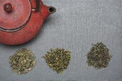 Tipi differenti di viste superiori del tè, spazio libero immagine stock libera da diritti