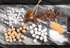 Tipi differenti di zuccheri Fotografie Stock