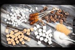 Tipi differenti di zuccheri Fotografia Stock