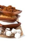 Tipi differenti di zuccheri - Demerara, Brown e bianco Fotografia Stock