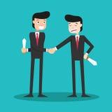 Tipi a due facce che stringono le mani nel mondo degli affari illustrazione vettoriale