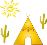 Tipi, house, sun, cartoons Royalty Free Stock Images