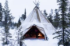 Tipi in Lapland in Winter Stock Photo
