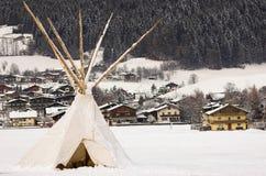 Tipi in sneeuw Stock Fotografie