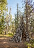 A Tipi, or Teepee made of trees in a pine forest. Day Hike in Vedauwoo, Wyoming. Blue Skies with ample clouds stock images